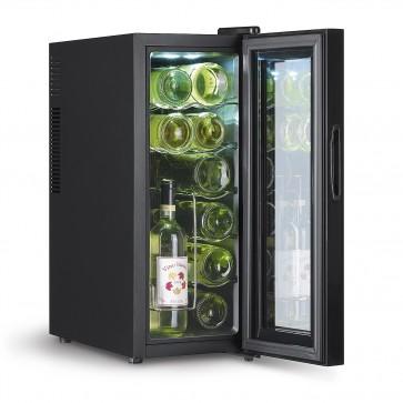 HOBERG Weinkühlschrank für 12 Flaschen mit doppelwandiger Temperglastür, freistehend