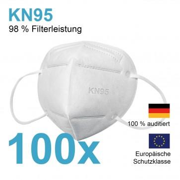 Atemschutzmaske KN95 PPF2 - 98% Filterleistung - 100er-Set – weiß