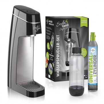 Soda Trend Style Wassersprudler inkl. PET-Flasche + CO2-Zylinder, schwarz