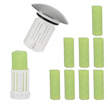 Abfluss-Fee Verschlussstopfen in Weiß mit Duftstein + Duftstein 8er-Set - Freisteller 1