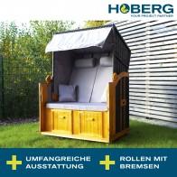Hoberg 2-Sitzer-Strandkorb (Ostsee) - 120 x 80 x 160cm - grau/braun