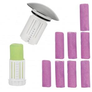 Abfluss-Fee Verschlussstopfen mit Duftstein Apfel-Zitrone + Duftstein 8er-Set Lavendel - Freisteller  1