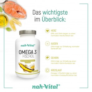 nah-vital Omega 3 Fischöl 2er-Set | Je 400 Kapseln mit je 300mg Omega-3-Fettsäuren