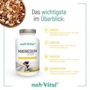 nah-vital Magnesiumcitrat 2er-Set | Je 200 Tabletten mit je 200 mg Magnesium