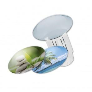 Abfluss-Fee Verschlussstopfen Design-Set in Weiß mit 3 Wechselkappen - Freisteller 1