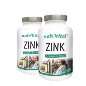 nah-vital Zink 2er-Set | Je 400 Tabletten mit je 25 mg Zink