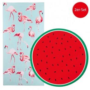 EASYmaxx Strandtuch XL - Flamingo - 80 x 160 cm & Wassermelone - 150 cm