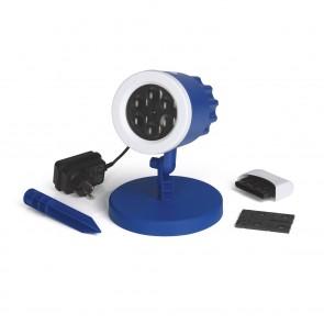 S04 LED-Motivstrahler mit Logo - blau/weiß