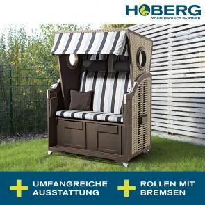 Hoberg 2-Sitzer-Strandkorb mit Bullaugen - 120 x 80 x 160 cm