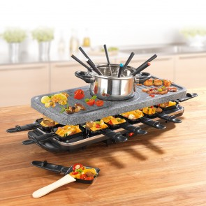 GOURMETmaxx Raclette- & Fondue-Set GRANITlook 1600 W in Schwarz
