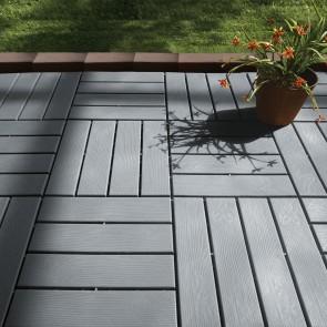 MAXXMEE Terassenplatten in Holz-Optik mit UV-Schutz - 12er-Set - 31x31x2 cm - grau