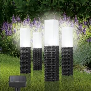 MAXXMEE Solar-Leuchte LED - Rattan-Look - 4er-Set - schwarz