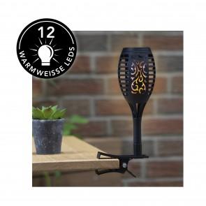 MAXXMEE Solar-Fackel LED mit Tageslichtsensor - 2er-Set - schwarz
