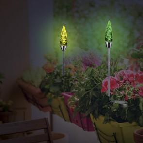 MAXXMEE Solar-Leuchte mit Erdspieß und mit Farbwechsel - Luftblasen-Design
