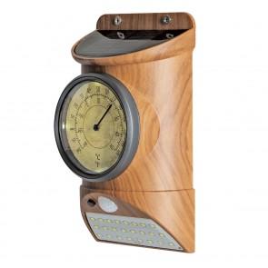 MAXXMEE Solar-Leuchte mit Bewegungsmelder und integriertem Thermometer - Holzoptik