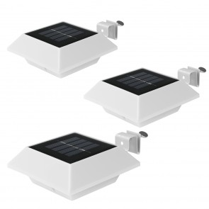 EASYmaxx Solar-Leuchte Dachrinne eckig 3er-Set 1,2 V in Weiß - Freisteller