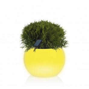 MAXXMEE Solar-Blumentopf LED-Farbwechsel mit Fernbedienung - rund - weiß