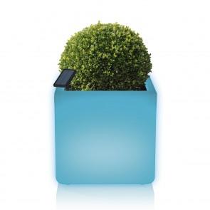 MAXXMEE Solar-Blumentopf mit LED-Farbwechsel - 7 Farben - eckig - weiß