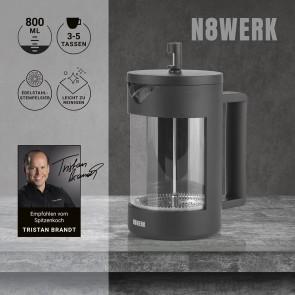 N8WERK Kaffeebereiter Edelstahl Coffee-Press-System - 800 ml - Midnight Edition
