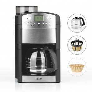 BEEM FRESH-AROMA-PERFECT Filter-Kaffeemaschine mit Mahlwerk - Glas | Thermostar