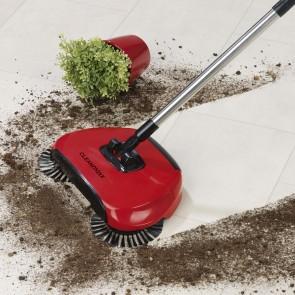 CLEANmaxx Bodenkehrer mit 3 Bürsten in Rot