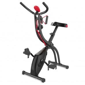 VITALmaxx Heimtrainer Fitness Bike - Magnetische Bremse mit Expanderbänder - schwarz/rot