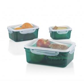 GOURMETmaxx Frischhaltedosen Klick-it - Flexibler Deckel - 6-tlg. - smaragd