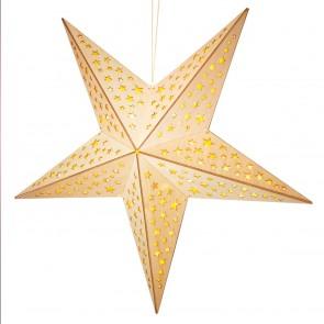 CHRISTmaxx LED-Holzdeko Weihnachts-Stern 40 cm Naturfarben - Freisteller 1