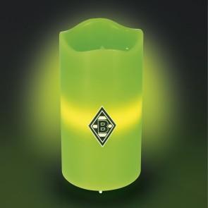 Borussia Mönchengladbach LED-Echtwachskerze - Mit rotierender BMG-Logo-Projektion - grün
