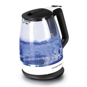 GOURMETmaxx Glas-Wasserkocher - 360° drehbar - schwarz/weiß