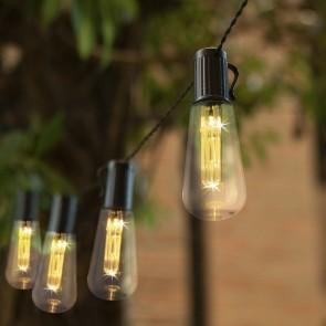 EASYmaxx Solar-Lichterkette Glühlampe mit 10 Glühbirnen - schwarz