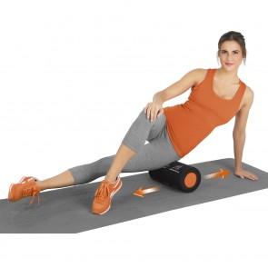 VITALmaxx Massagerolle in Schwarz/Orange mit Trainingsübungen
