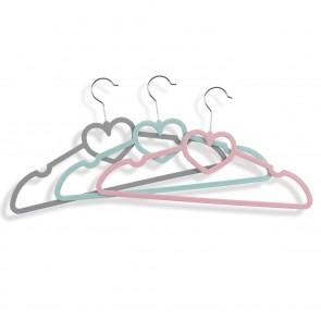 EASYmaxx Kleiderbügel Herzform 30-tlg. - Grau/Mint/Pink