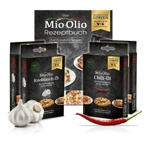 Mio-Olio Rapsöl Knoblauch & Chilli je 20 Sachet + Buch