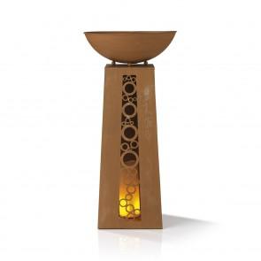 EASYmaxx LED-Dekosäule mit Flammeneffekt - Rost-Optik - 69 cm