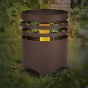 MAXXMEE Solar-Feuerstelle mit Flammeneffekt in Rost-Optik - 25,5 cm Höhe