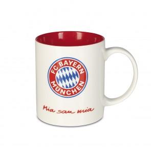 "FC BAYERN MÜNCHEN Kaffeebecher ""Mia san Mia"" 350ml weiß/rot"