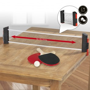 MAXXMEE Tischtennis-Set zum Mitnehmen - 7-tlg. - schwarz/rot