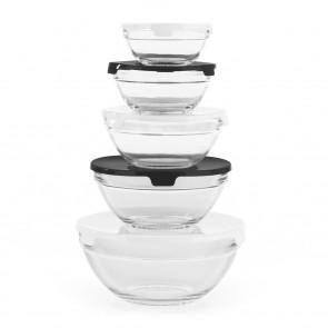 GOURMETmaxx Aufbewahrungs-Schüsseln Glas - Stapelbar - schwarz/weiß