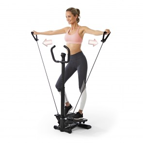 VITALmaxx Fitnesstrainer Swing Stepper mit 2 Expanderbändern - schwarz