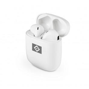 HSV Kopfhörer In-Ear Bluetooth - weiß/grau mit Logo
