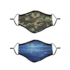 Gesichtsmasken-Set aus Baumwolle - Kids Camouflage/Tec 2-tlg. blau/grün