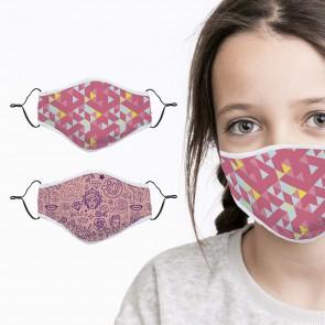 Gesichtsmasken-Set aus Baumwolle - Kids Girl Power/Retro 2-tlg.