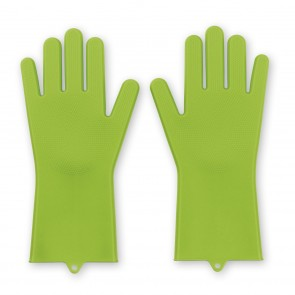 CLEANmaxx Reinigungshandschuh Silikon - 2er-Set - limegreen