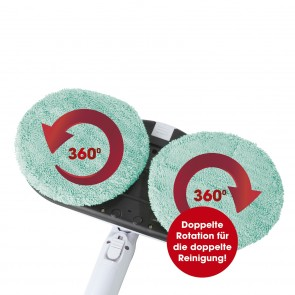 CLEANmaxx Akku-Spray-Mopp - 360° Rotation - 2 Reinigungs-Pads - türkis