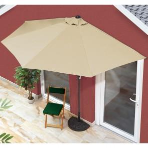 EASYmaxx Sonnenschirm halbrund beige mit UV-Schutz
