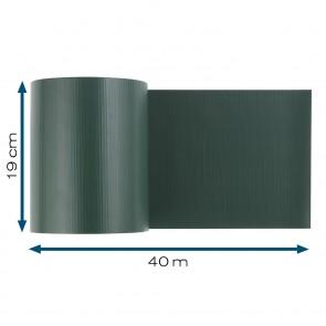 Hoberg Sichtschutzstreifen für Doppelstabmatten in Grün - 40 m x 19 cm - 450 g/m²