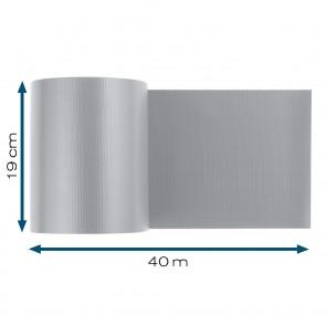 Hoberg Sichtschutzstreifen für Doppelstabmatten in Grau - 40 m x 19 cm - 450 g/m²