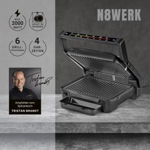 N8WERK Digital-Kontakt-Grill Midnight Edition -  2000W - Touch-Display mit 6 Grill-Programmen