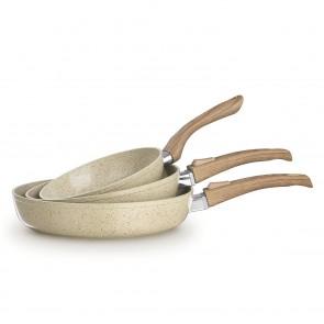 BRATmaxx Keramik-Pfannen 3er-Set geschmiedet mit Griff in Holzoptik, cremefarbend